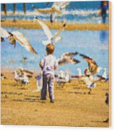 A Child At The Beach Isle Of Palms Sc Wood Print