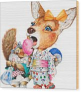 A Child Deer And Squirrel At The Summer Festival Wood Print