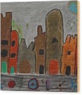 A Child's View Of Downtown Wood Print