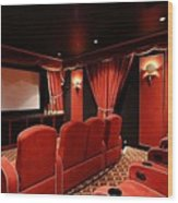 A Classy Home Theater Set Up Wood Print