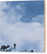 A Climber On The Airy Traverse Wood Print