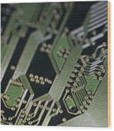 A Close View Of A Silicon Circuit Board Wood Print by Taylor S. Kennedy