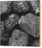 A Close View Of Coal Ready For Burning Wood Print