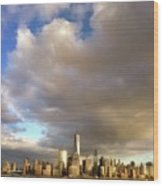 A Cloudscape And Its Cityscape Wood Print