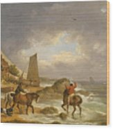 A Coastal Landscape Of The Isle Of Wight With Figures On Horse Back Near A Cottage Wood Print