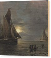 A Coastal Landscape With Sailing Ships By Moonlight Wood Print