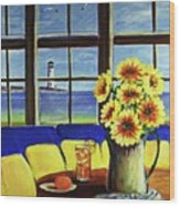 A Coastal Window Lighthouse View Wood Print