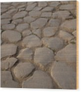 A Cobblestone Road In Rome Wood Print