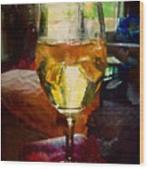 A Cold Glass Of Wine Wood Print