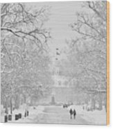 A Colonial White Winter Wood Print