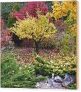 A Colorful Fall Corner Wood Print