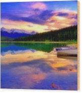 A  Colourful Evening At Lake Patricia Wood Print
