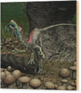 A Compsognathus Prepares To Swallow Wood Print