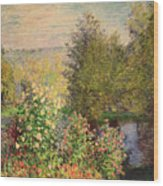 A Corner Of The Garden At Montgeron Wood Print
