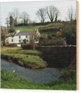 A Cornish Cottage By The Stream Wood Print