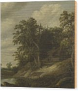 A Cottage Among Trees On The Bank Of A Stream Wood Print