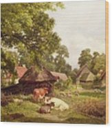 A Cottage Home In Surrey Wood Print