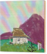 A Cottage In The Alps Wood Print