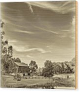 A Country Place 3 - Sepia Wood Print