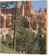 A Couple Hikes Along A Trail In Bryce Wood Print
