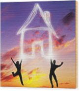 A Couple Jump And Make A House Symbol Of Light Wood Print