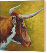 A Couple Of Pointers - Longhorn Steer Wood Print