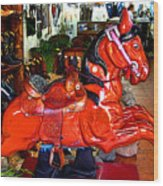 A Cowboy's Horse Wood Print by Mexicolors Art Photography