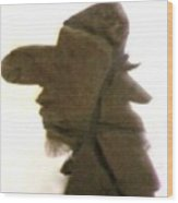 A Cowboy's Shadow In Rock - 2 Wood Print