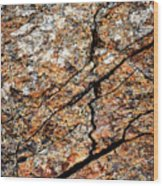 A Crack On A Brown Stone Block Wood Print