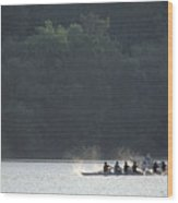 A Crew Team Rowing On The Potomac River Wood Print