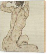 A Crouching Nude Wood Print