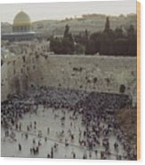 A Crowd Gathers Before The Wailing Wall Wood Print by James L. Stanfield