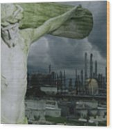A Crucifixion Statue In A Cemetery Wood Print