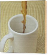 A Cup Of Energy Filled Coffee Is Poured Wood Print