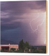 A Dance Of Lightning In The Foothills Wood Print