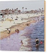 A Day At The Beach - Colored Pens Effect Wood Print