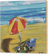 A Day At The Beach Wood Print