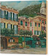 A Day In Portofino Wood Print by Charlotte Blanchard