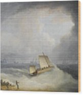 A Deal Lugger Going Off To Storm Bound Ships In The Downs Wood Print