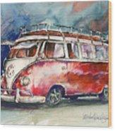 A Deluxe 15 Window Vw Bus Wood Print