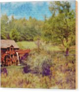 Grist Mill With Flowing Water Wood Print