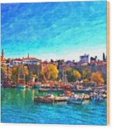 A Digitally Constructed Painting Of Kaleici Harbour In Antalya Turkey Wood Print
