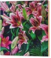 A Display Of Lilies Wood Print