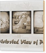 A Distorted View Of Paris Wood Print