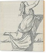 A Distraught Woman With Her Head Thrown Back Wood Print