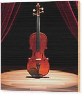 A Double Bass On A Theatre Stage Wood Print