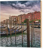 Surreal Seascape On The Grand Canal In Venice, Italy Wood Print