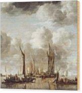 A Dutch Yacht Firing A Salute As A Barge Pulls Away Wood Print