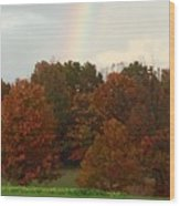 A Fall Rainbow Wood Print