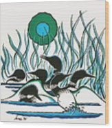 A Family Of Loons Wood Print by Arnold Isbister